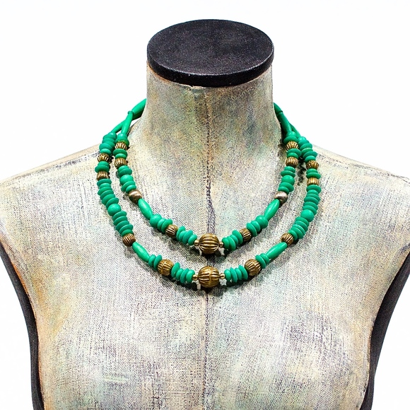 Vintage 70's Jewelry - VTG 70's Double Strand Green Natural Bone Necklace